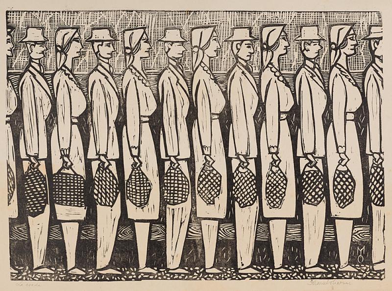Marcel Olinescu, La coadă, linogravură, hârtie, 30,5 x 42 cm, Nasui Collection